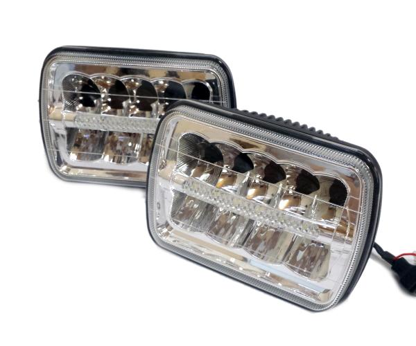 DRL デイライト付! LED ヘッドライト S13 180SX KP61 AE86 ハイラックスサーフ ハイエース ランドクルーザープラド FC3S 角型 角目 四角