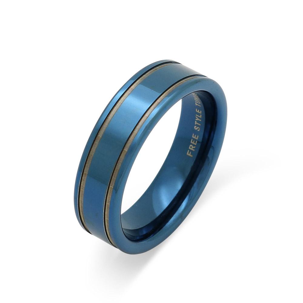 メンズリング タングステン アクセサリー 傷つかない 変色しない 手入れ不要 手入れいらず 贈り物 お揃い チタンコーティング 青 ブルー シンプル サムシングブルー 鏡面仕上げ FREE STYLE 公式サイト タングステンリング 金属アレルギー対応 アレルギーフリー 青 ブルー メンズリング メンズアクセサリー メンズ 指輪・リング 記念日 プレゼント ギフト シンプル フリースタイル FSTSR224BLUE【送料無料】