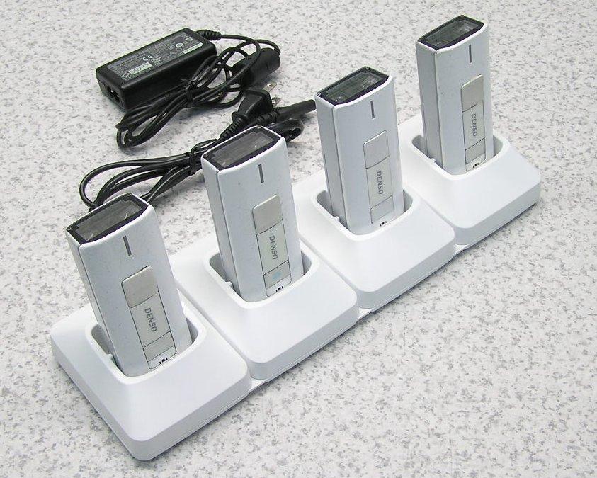 □■DENSO/デンソー Bluetooth バーコードハンディスキャナ SE1-BB-C 4台セット 充電器付き(CH-SE14)【中古】