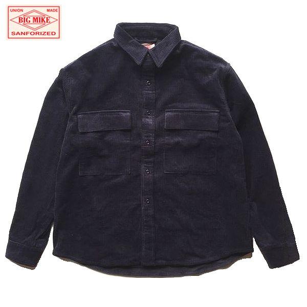【期間限定セール】BIG MIKE/ビッグマイク CORDUROY WORK SHIRTS/コーデュロイワークシャツ・NAVY