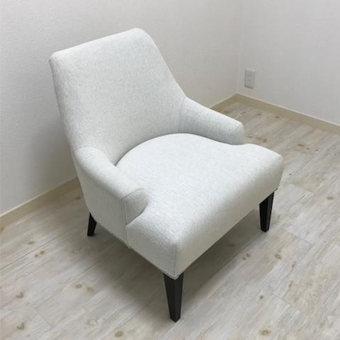 [中古]★モデルルーム展示品★ラウンジチェアパーソナルチェア1人掛けファブリックアイボリーチェア家具
