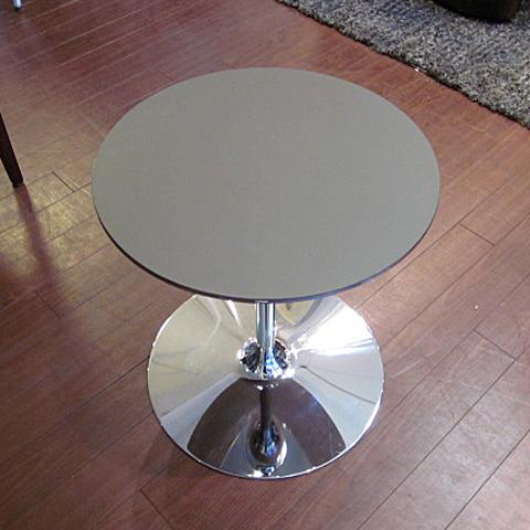 [中古]★モデルルーム展示品★サイドテーブルシルバー×ブラック円形テーブル