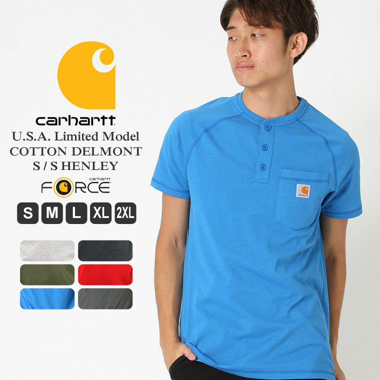 get online huge selection of sold worldwide | during the discount coupon distribution Car heart Carhartt car heart  T-shirt men short sleeves henley neck (100413) << 5.75oz >> [with the  Carhartt ...