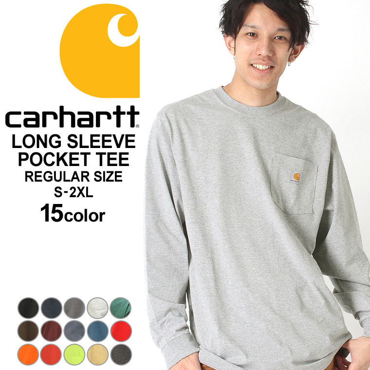 for whole family online retailer huge discount Size k126 USA model | brand Carhartt | which car heart Ron T pocket men  T-shirt long sleeves 6.75oz has a big Long sleeves T-shirt American casual  ...