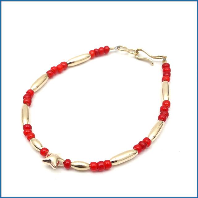 THE BINGO BROTHERS ビンゴブラザーズ Beads x Gold Pipe Star ブレスレット RED 469000246042