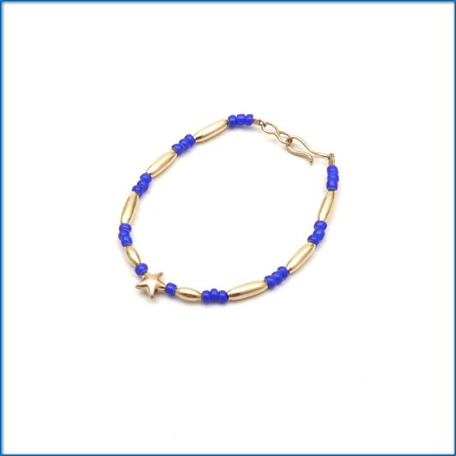 THE BINGO BROTHERS ビンゴブラザーズ Beads x Gold Pipe Star ブレスレット BLUE 469000246034