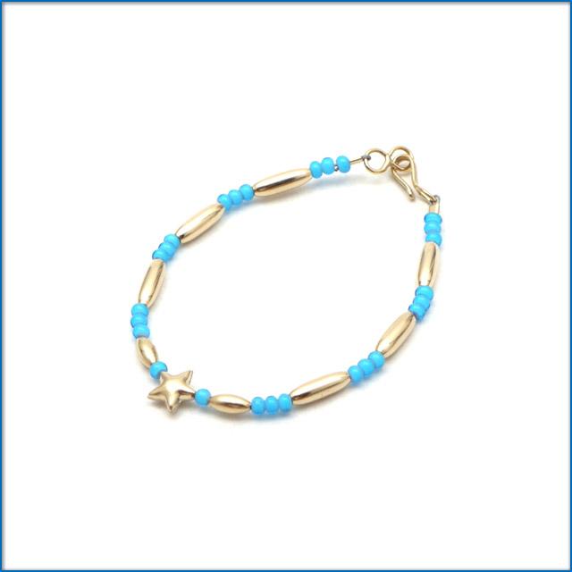 THE BINGO BROTHERS ビンゴブラザーズ Beads x Gold Pipe Star ブレスレット Lt.BLUE 469000246036