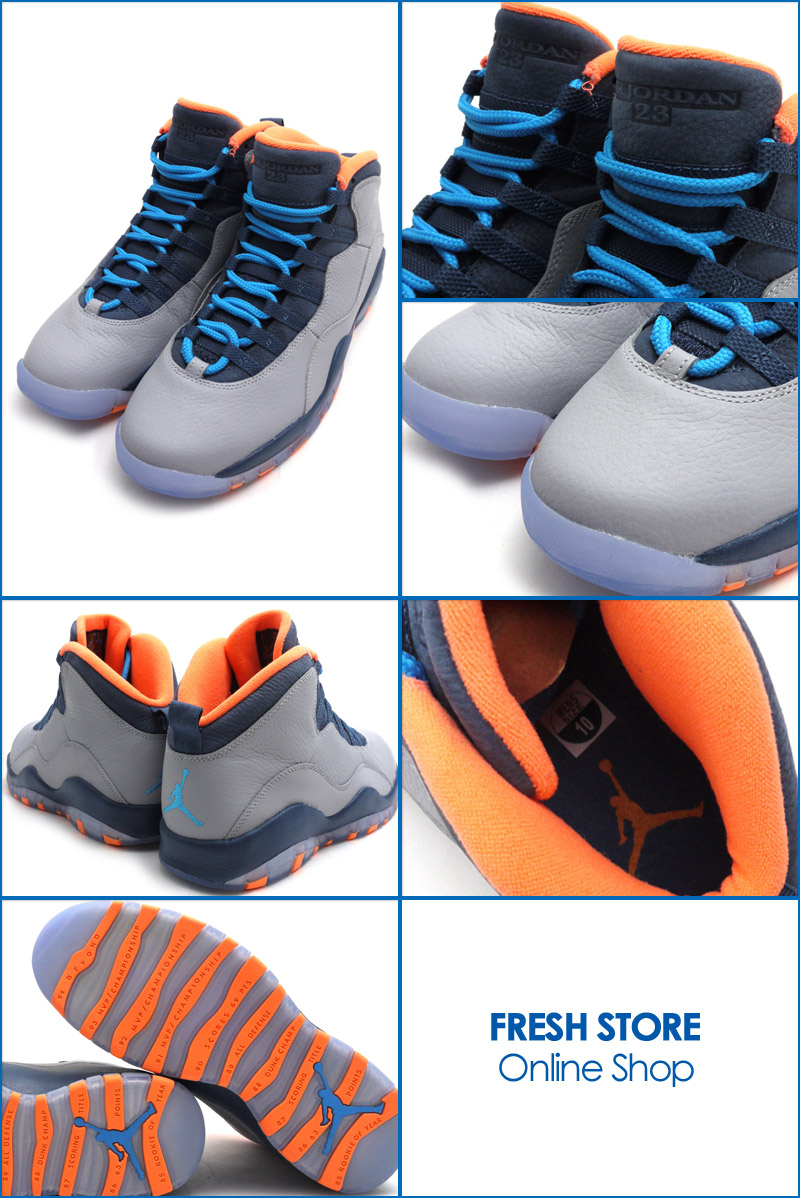 1f75193e3b94 10 NIKE( nike) AIR JORDAN RETRO (sneakers) WOLF GREY DARK POWDER BLUE-NEW  SLATE-ATOMIC ORANGE 310