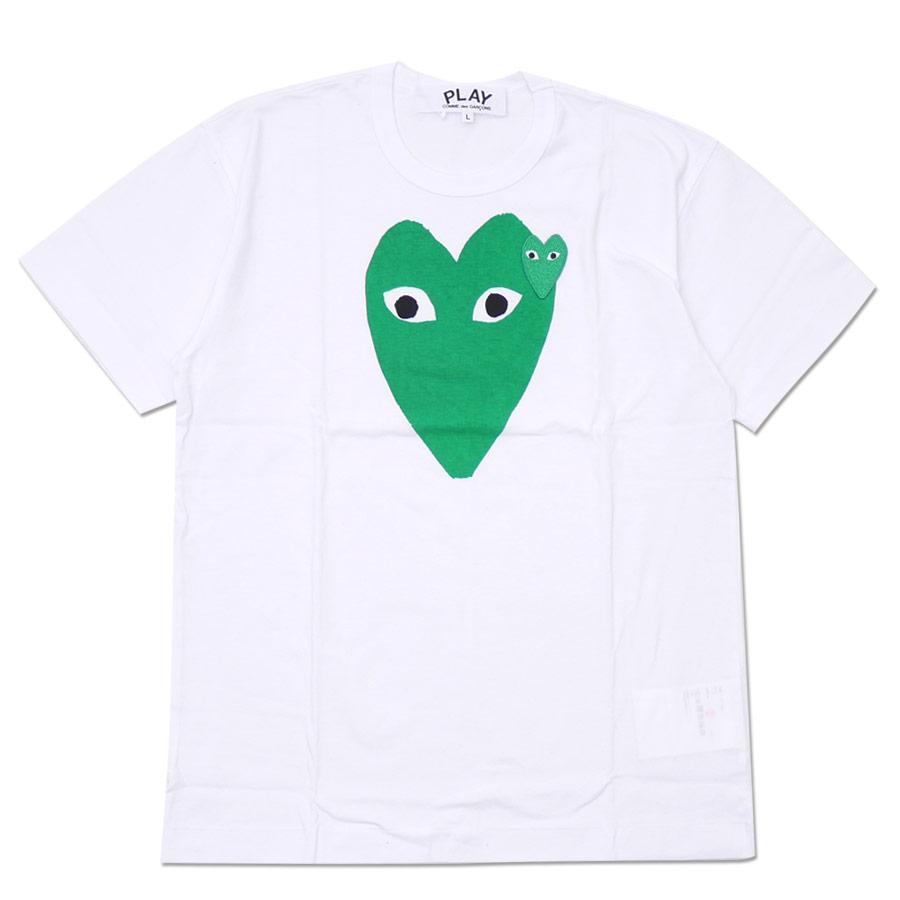PLAY COMME des GARCONS プレイ コムデギャルソン MEN'S GREEN HEART PRINT TEE Tシャツ WHITE 200007756050 【新品】