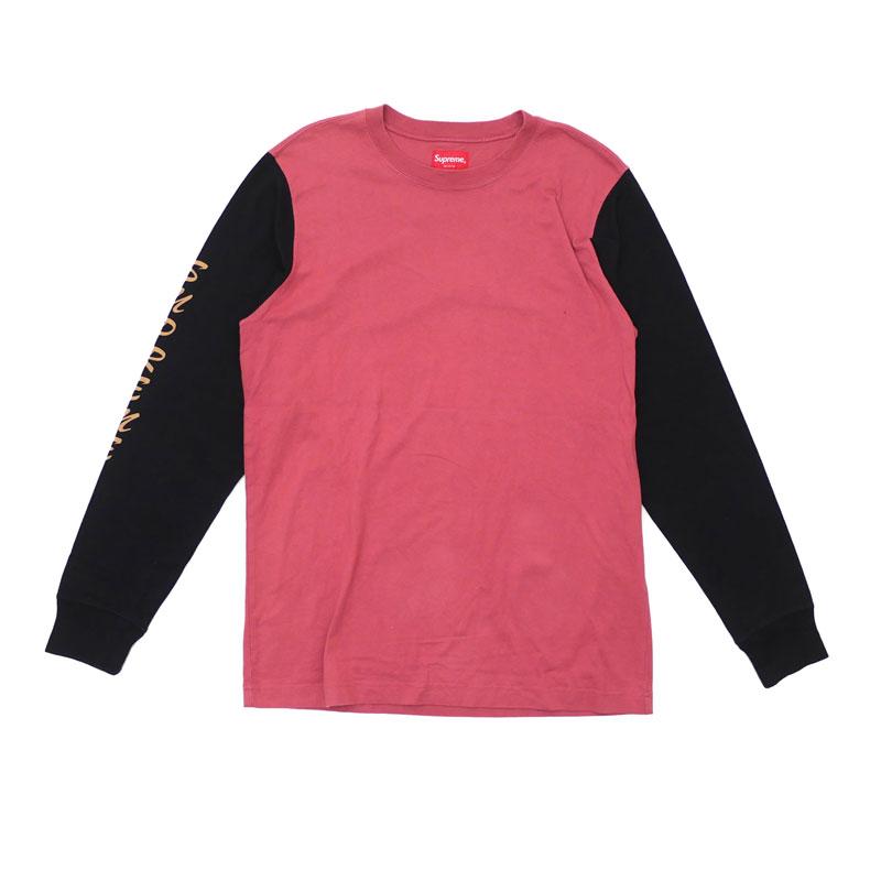 【Sサイズ】 Supreme シュプリーム 2-Tone Sleeve Logo L/S Top 長袖Tシャツ メンズ 2016F/W 334-000021-033 【中古】 (TOPS)