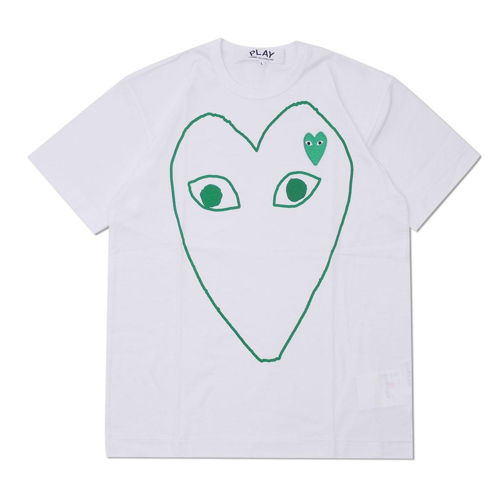 プレイ コムデギャルソン PLAY COMME des GARCONS MEN'S OUTLINE 200008080 メンズ TEE 新品 WAPPEN Tシャツ HEART 超人気 WHITExGREEN 爆買い送料無料