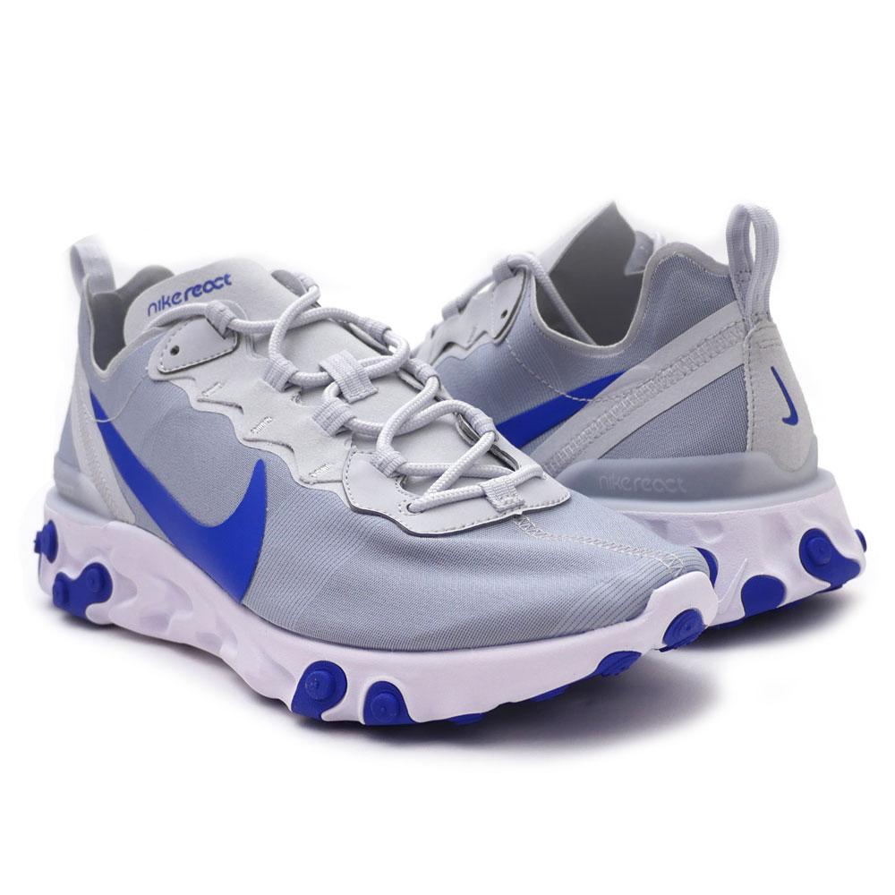 ナイキ NIKE REACT ELEMENT 55 リアクト PURE PLATINUM/RACER BLUE メンズ BQ6166-005 191012978