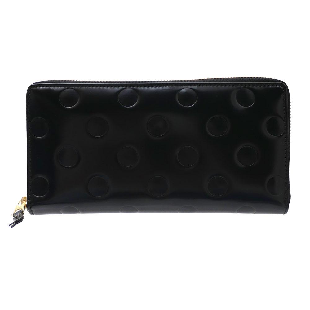新品 コムデギャルソン Wallet COMME des GARCONS POLKA DOTS EMBOSSED Long Wallet ウォレット 長財布 BLACK ブラック 黒 メンズ レディース