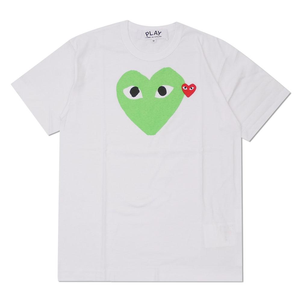 新品 プレイ コムデギャルソン PLAY COMME des GARCONS MENS COLOR HEART PRINT TEE Tシャツ WHITExGREEN メンズ