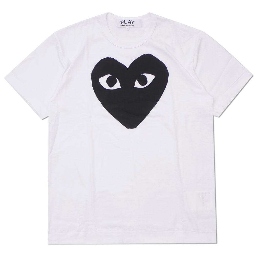 PLAY COMME des 完全送料無料 GARCONS 永遠の定番モデル プレイ コムデギャルソン MEN'S TEE WHITE HEART 200007921050 Tシャツ 新品 BLACK