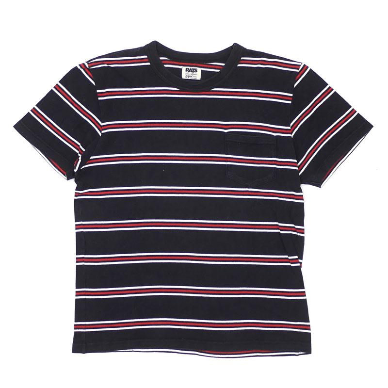 ラッツ RATS ボーダー ポケット Tシャツ ご注文で当日配送 BLACK 半袖Tシャツ 出色 Sサイズ 104002982 中古 ブラック メンズ