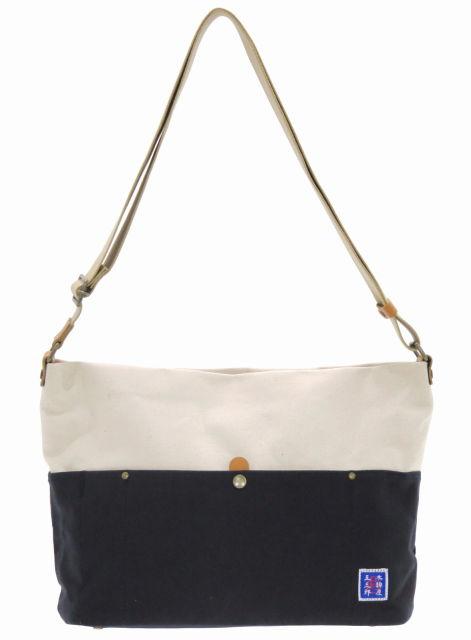 日本製 豊岡鞄 木綿屋五三郎 富士金梅帆布 パラフィン加工 ショルダーバッグ M