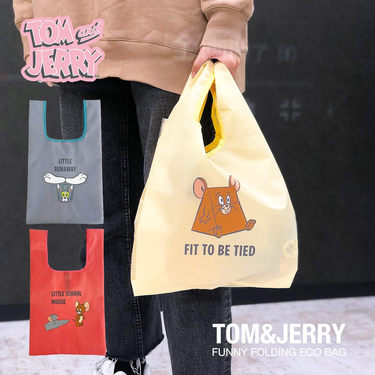 TOMandJERRY ファニー折りたたみエコバッグ 上等 エコバッグ バッグ 人気ショップが最安値挑戦 レディース キャラクター トムとジェリー 折りたたみ ショルダーバッグ 送料無料 大人 コンビニ スーパー メール便 ミニバッグ エコ お買い物 ミニマル