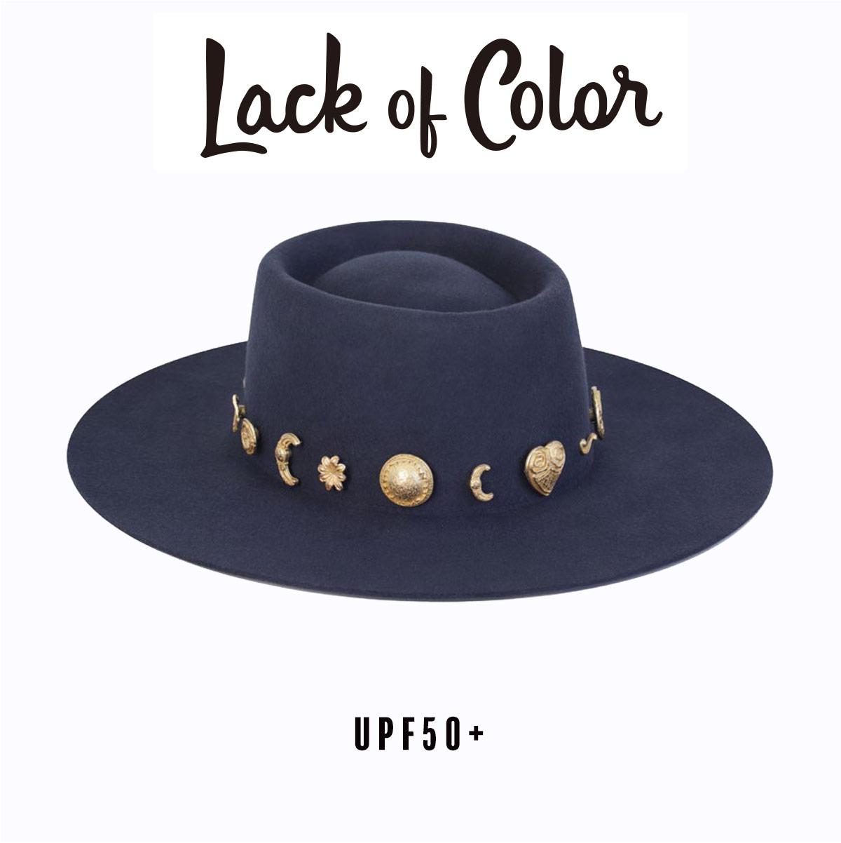 UPF50 Lack 未使用 of Color The Cosmic Boater ハット レディース メンズ ユニセックス UVカット 贈与 ラックオブカラー UPF50+ オーストラリア 紫外線対策 帽子 ウール つば広 チャーム