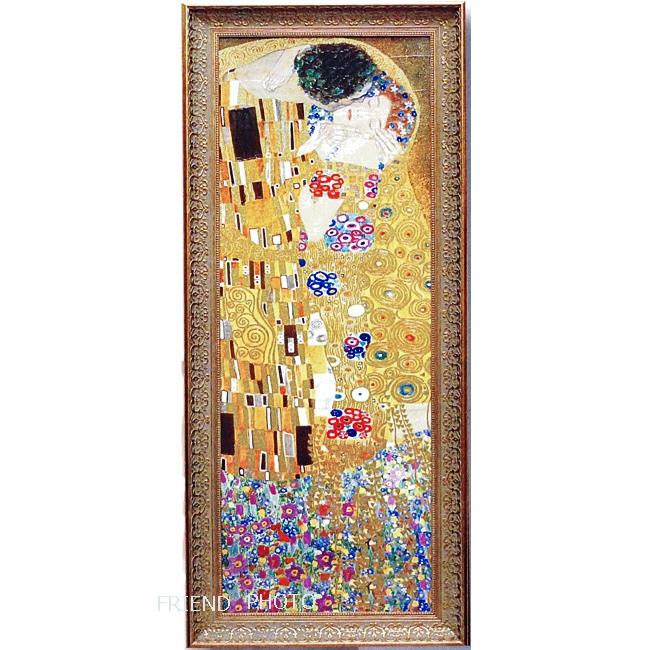 【ゴールドクリムト】 クリムト 「ザ・キス 接吻」GK-18001 ゴールドラメ LLサイズ額 ★ミュージアムシリーズ/アートポスター/複製画/絵画額★