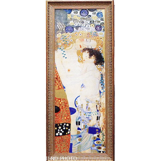 【ゴールドクリムト】 グスタフ クリムト 「人生の三段階」 ゴールドラメ絵画額 LLサイズ 【結婚祝い/新築祝い/プレゼント】 (アート/複製画/ポスター額付)
