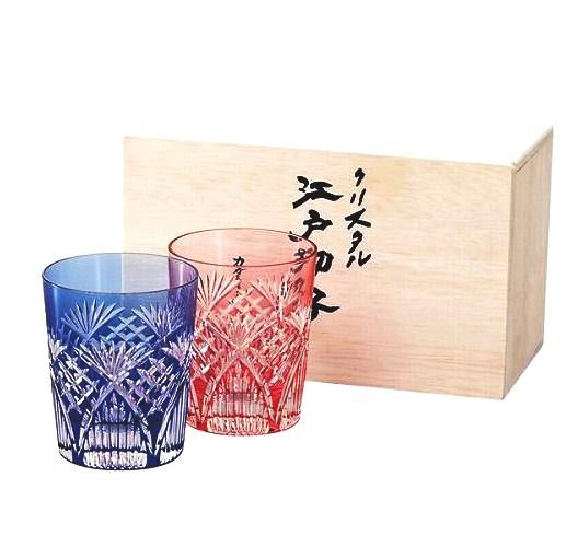 カガミクリスタル 江戸切子 ペアロックグラス 2652 【笹葉に斜格子/ギフトセット/プレゼント】
