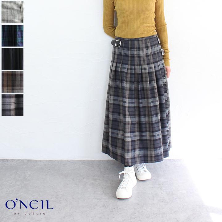 【マラソン連動ポイント10倍】【送料無料】O'NEIL OF DUBLIN(オニールオブダブリン)ウールプリーツラップスカート
