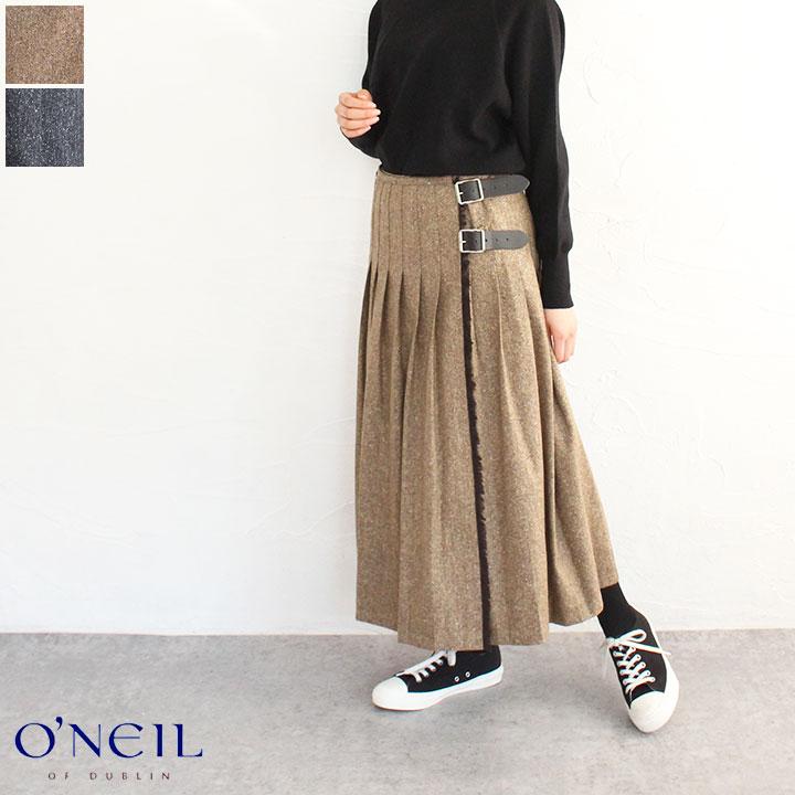 【送料無料】O'NEIL OF DUBLIN(オニールオブダブリン)カントリーミックスローウェストプリーツラップスカート