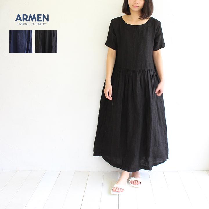 【送料無料】ARMEN(アーメン)ボートネックリネンワンピース