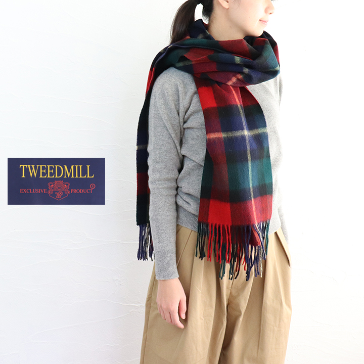 【ゆうパケット不可】TWEEDMILL(ツイードミル)ピン付きラムズウールマフラー///