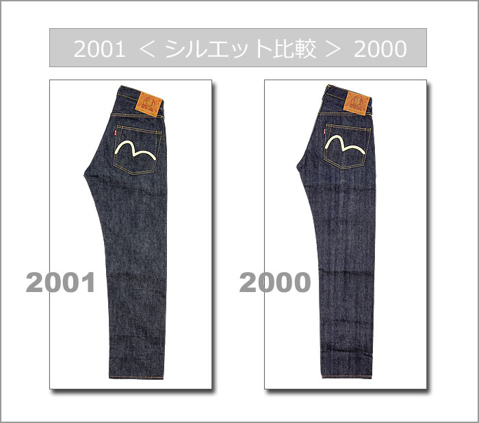 ■ EVISU (evisu jeans) No1 2001 [W31-W36] ☆ No.1 SPECIAL 2001 Color paint Sea gull Jeans ☆ [Made in JAPAN] (Raw/Unwashed) (Thickish)