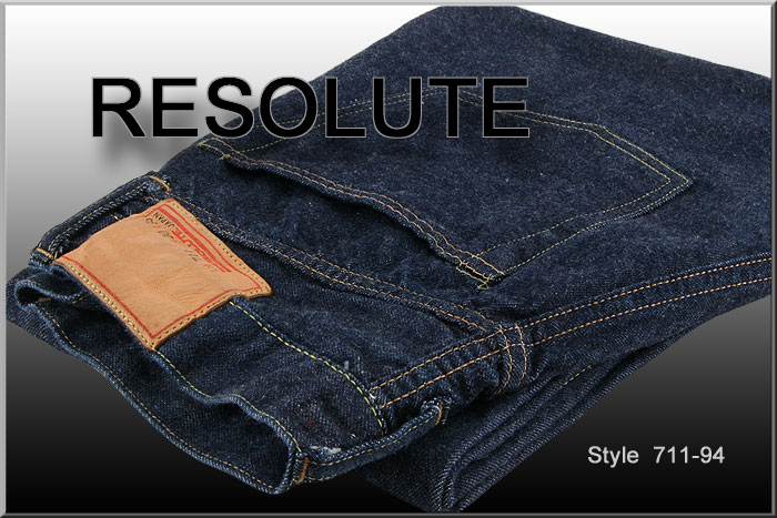 ■ RESOLUTE JEANS (resolute jeans) XX model [711-94]  36-40 inch ☆ Thickish Straight Fit (Washed) ☆ [Made in JAPAN] (Replica / Vintage / Hayashi)