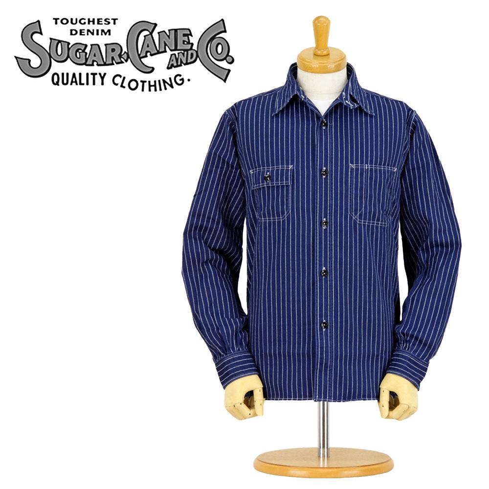 希少 シュガーケーン 長袖シャツ SC25551A SUGAR CANE 業界No.1 ウォバッシュストライプ メンズ ワ-クシャツ 日本製 XL WORK 8.5oz