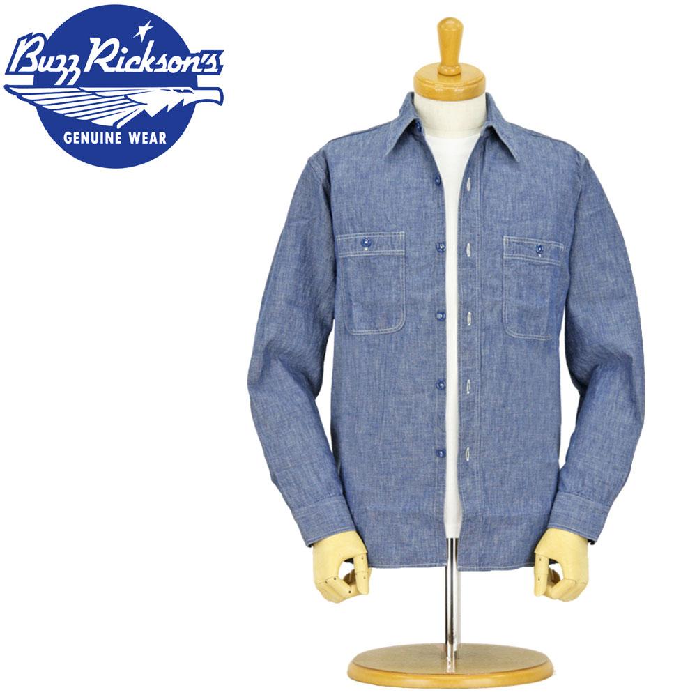 バズリクソンズ マーケット 長袖シャツ BR25995 BUZZ RICKSON'S シャンブレー 長袖 ブルー ワークシャツ 国内即発送 シャンブレーシャツ 日本製 ミリタリー XL