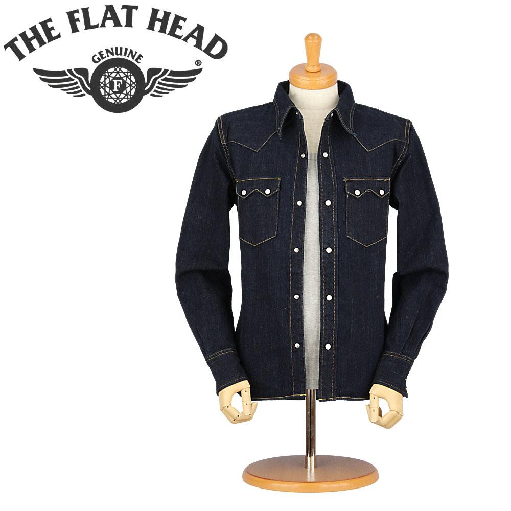 ■ THE FLAT HEAD(フラットヘッド デニムシャツ)デニムウエスタンシャツ [7002W] [36/38/40](ワンウォッシュ/日本製/アメカジ/セルビッチ/長袖シャツ)
