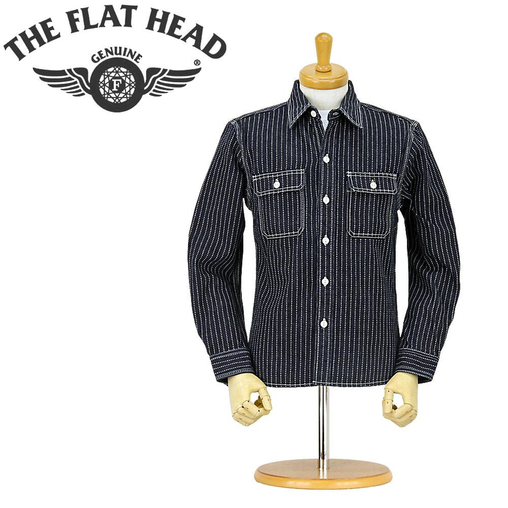 ■ THE FLAT HEAD (フラットヘッド 長袖シャツ)[7014W]ウォバッシュストライプ ワークシャツ(ワンウォッシュ) (44inch)(日本製/アメカジ/長袖ワークシャツ/WABASH)