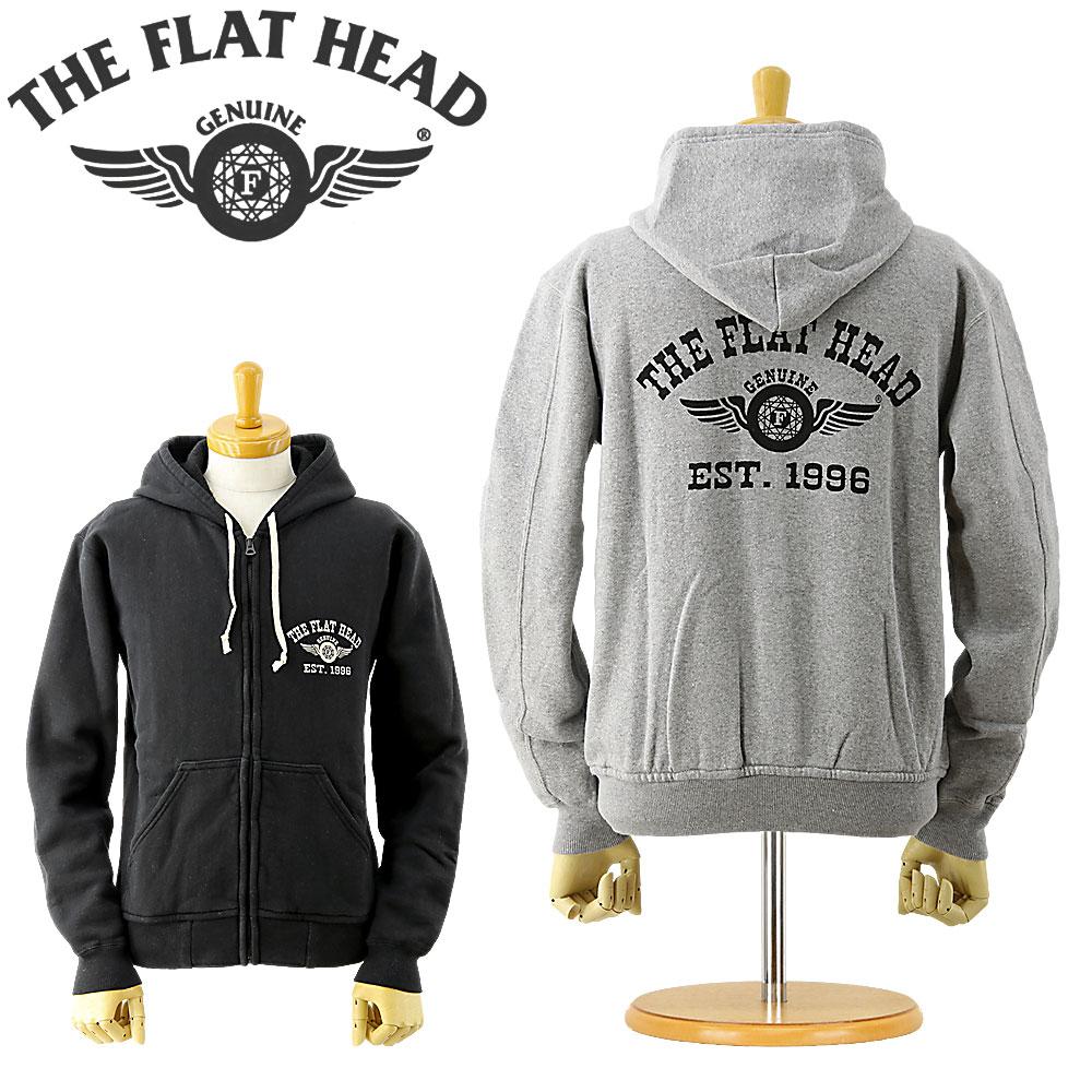 ■ THE FLAT HEAD (ザ フラットヘッド)(F-CZP-001)フルジップ スウェット パーカー 「FH FLYING WHEEL」(裏起毛 メンズ パーカ プリント カットソー おしゃれ 日本製)