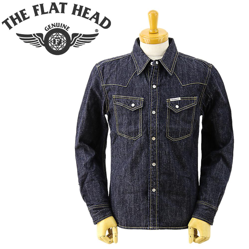 THE FLAT HEAD (ザ フラットヘッド)[F-DS001] デニム ウエスタン 長袖シャツ 44inch (長袖 ウエスタンシャツ メンズ ワンウォッシュ おしゃれ 日本製)
