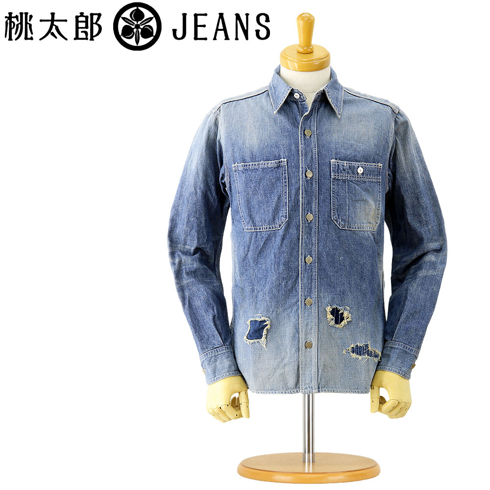 5b3ca873e4a MOMOTARO JEANS (momotaro jeans long sleeve shirt)  05-079  remake denim  work shirt (10 oz. denim) (damage   long sleeve   casual   Japan machined      men s ...