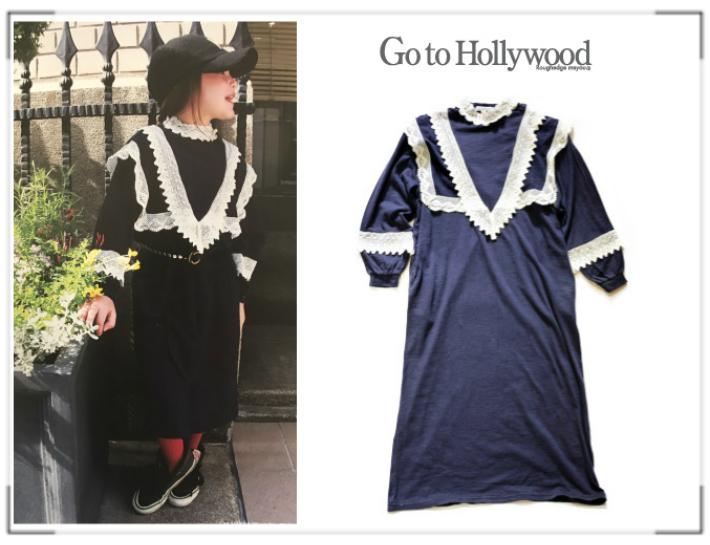 【送料無料】2018 A/W Go to Hollywood ゴートゥーハリウッド 1288503 ギャクスラブテンジク ドレス OP【150cm~160cm】【4 ネイビー】