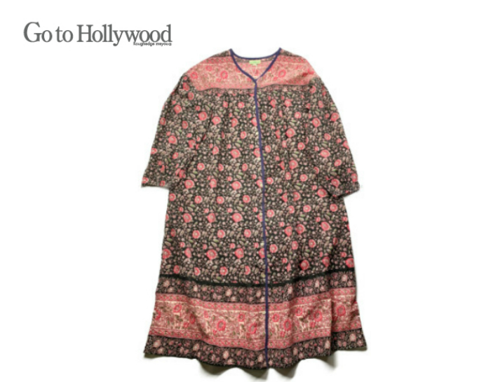 【送料無料】2019 S/S Go to Hollywood ゴートゥハリウッド 1292902インドプリント ワンピース【150~160cm】【2 ブラック】