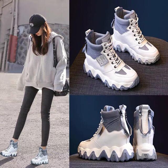 身長アップ 人気 歩きやすい おしゃれ 厚底 レースアップ 履き心地よい カジュアル 厚底靴 美脚 ファッションスニーカー レディース靴 運動靴 日常着用 通学