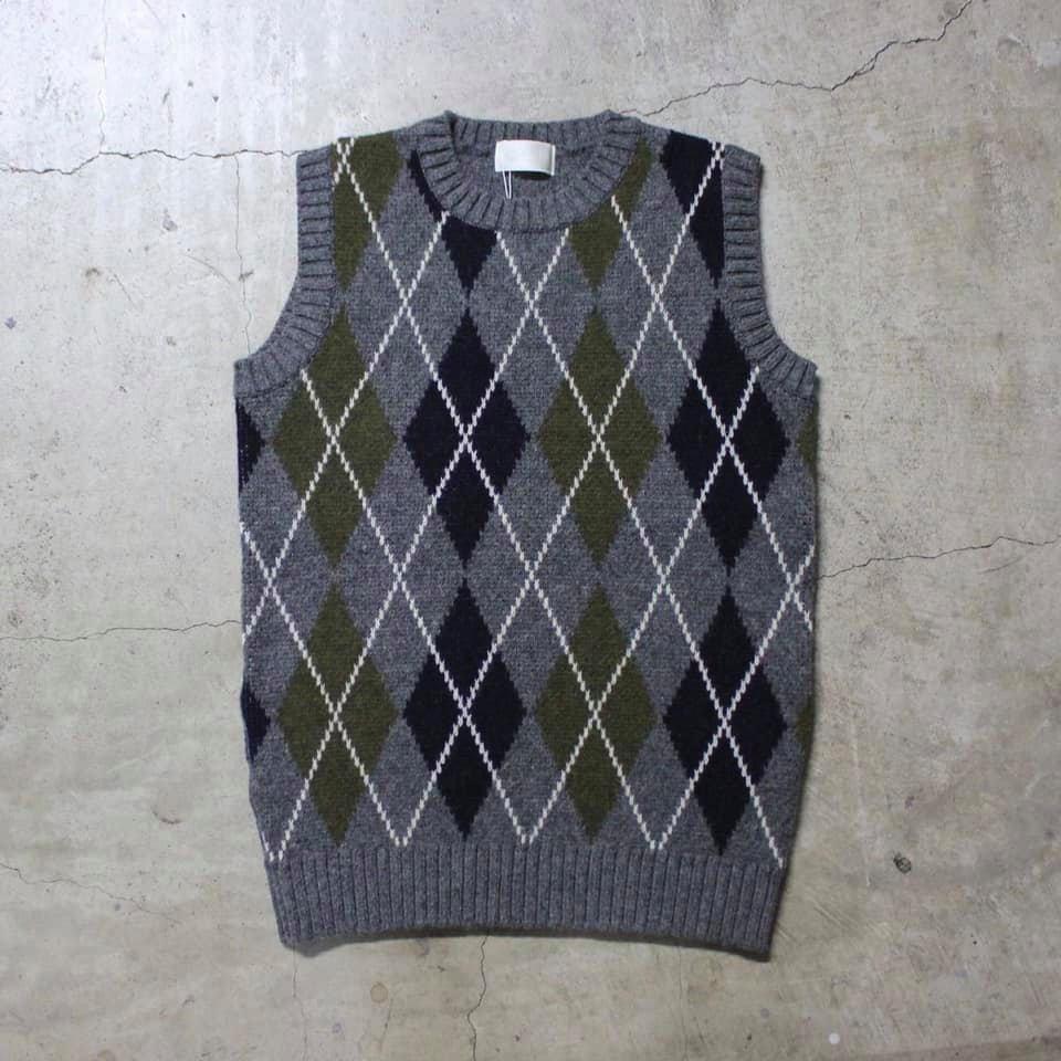 soglia - LANDNOAH Vest - Argle Gray-M-L ソリア Made in JAPAN シェットランドウール ニットベスト セーター グレー