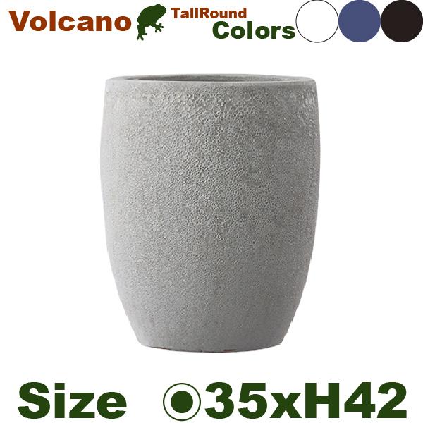 ボルカーノ トールラウンド 35(直径35cm×H42cm)(底穴あり)(陶器製)(アビス Abyss プランター ポット)(観葉鉢 園芸 寄せ植え)