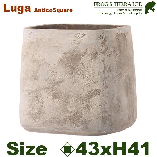 LUGA ルーガ アンティコ スクエア 43(口43cm×H41cm)(底穴あり)(陶器鉢 テラコッタ)(プランター テラアストラ 寄せ植え ポット)