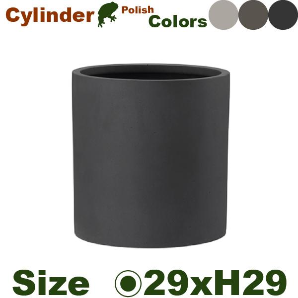 ポリッシュ シリンダー 29 Polish(直径29cm×H29.5cm)(底穴なし)(ポリストーン プランター ポット 軽量 観葉鉢)