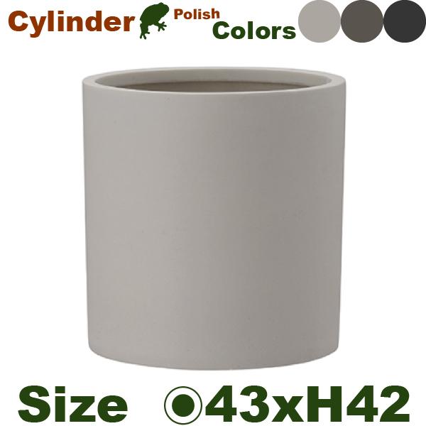 ポリッシュ シリンダー 43 Polish(直径43cm×H42.5cm)(底穴なし)(尺鉢対応 ポリストーン プランター ポット 軽量 観葉鉢)