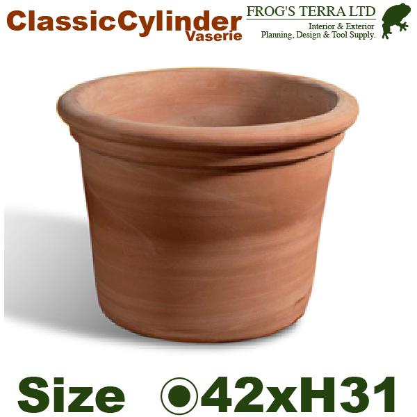 クラシックシリンダー 42(直径42cm×H31cm)(底穴あり)(イタリア製 陶器鉢 テラコッタ プランター Terracotta Vaserie in Toscana)