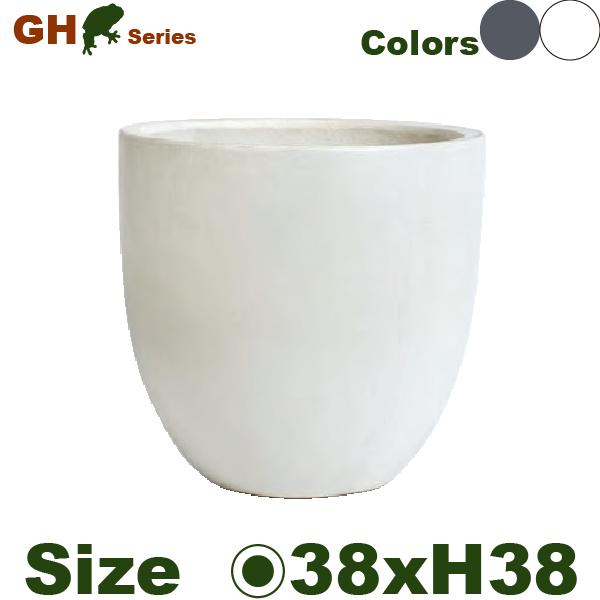 GH・ラウンド・GH008M (直径38cm×H38cm)(底穴あり)(セメント/ジュートファイバー)(プランター/ポット)