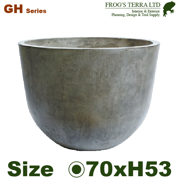 GH・ロウラウンド・グレイ・GH006-70cm (直径70cm×H53cm)(底穴あり)(セメント/ジュートファイバー)(プランター/ポット)